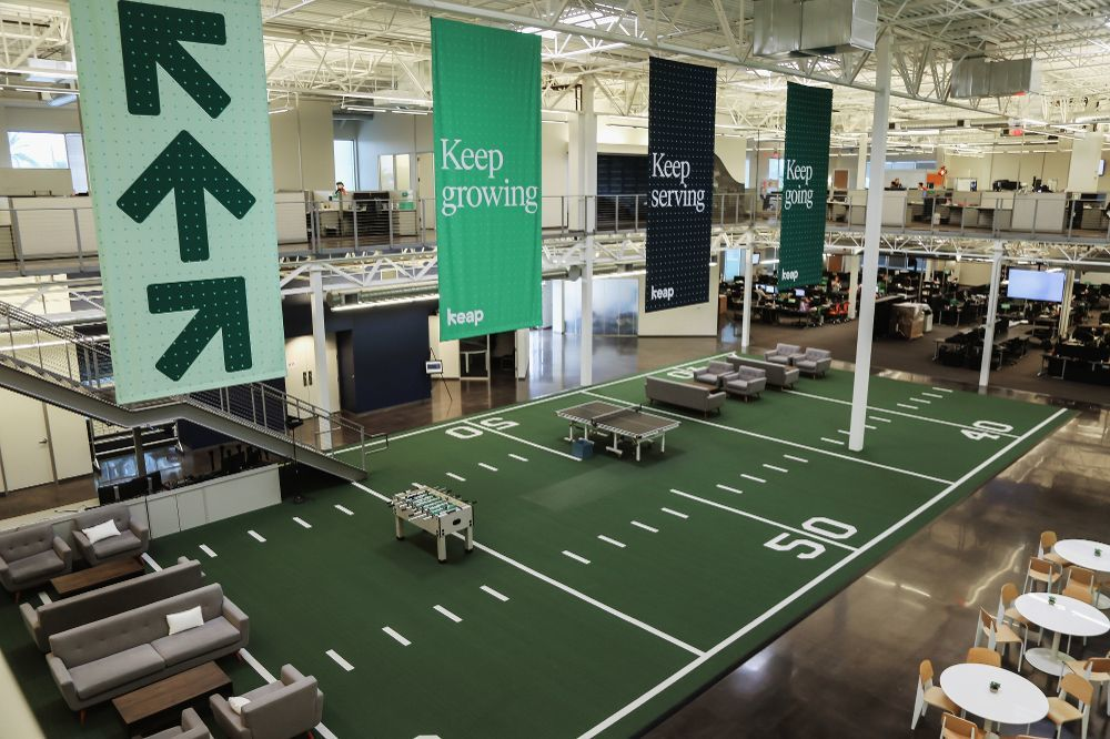 Keap headquarters has a football field in the middle of the building.