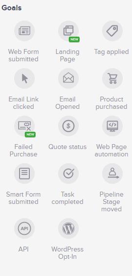 Screenshot of Keap campaign goals