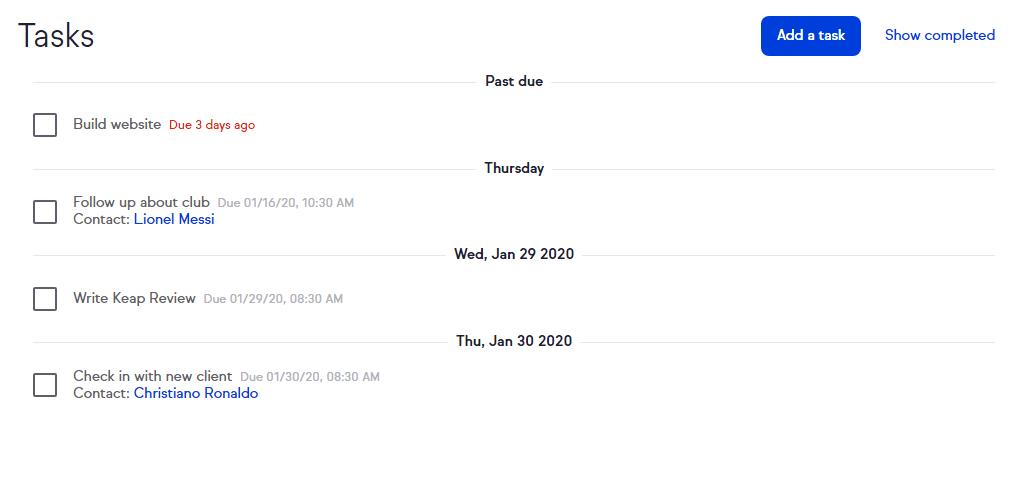 Screenshot of the Keap Tasks section